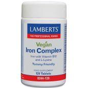 Lamberts Vegan Iron Complex (Vitamin B12 and L-Lysine) 120 Tablets #8244