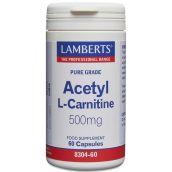 Lamberts Acetyl L-Carnitine 500mg 60 Caps #8304