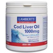 Lamberts Cod Liver Oil 1000mg (EPA123/DHA104mg) # 8554