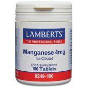 Lamberts Manganese 4mg (100 Tablets) # 8249